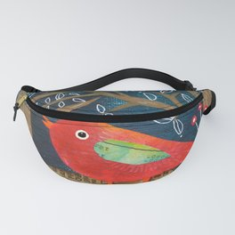 Red Bird in Galoshes Fanny Pack