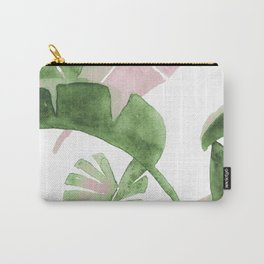 Tropical Leaves Green And Pink Carry-All Pouch