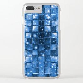 Blocky Blue Stars Clear iPhone Case