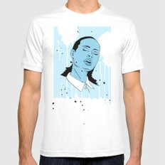 Woman in Blue White MEDIUM Mens Fitted Tee