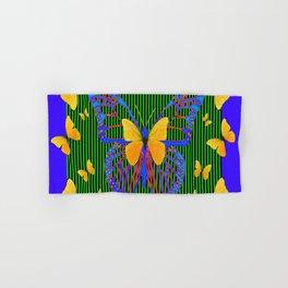 YELLOW BUTTERFLIES  BLUE MODERN ART DESIGN Hand & Bath Towel