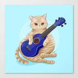 Cat with ukulele Canvas Print