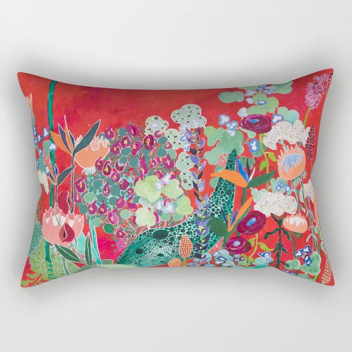 Red floral Jungle Garden Botanical featuring Proteas, Reeds, Eucalyptus, Ferns and Birds of Paradise Rectangular Pillow