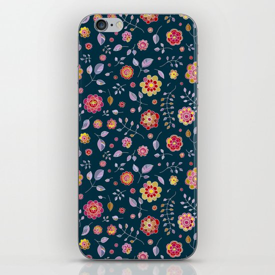 Teal and Brights Flower Pattern Design iPhone & iPod Skin