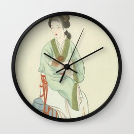 Yingchun, Chinese Painting and Calligraphy Print, Twelve Beauties of Jinling of Famous Literary Wall Clock