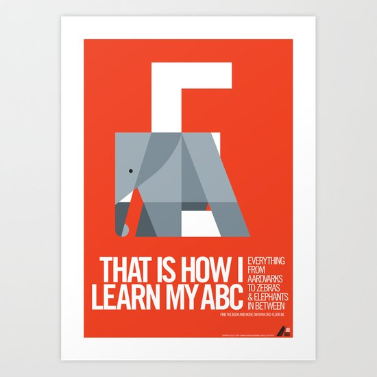 Animal Alphabet E Art Print