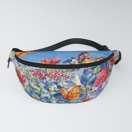 Summer Flower Meadow - Watercolor illustration Fanny Pack