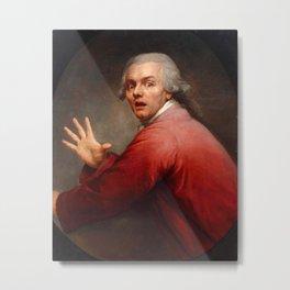 Joseph Ducreux - Self-portrait in Surprise and Terror - Autoportrait en homme surpris et terrorisé Metal Print