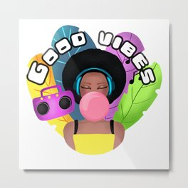 Afro girl with headphones and chewing gum listening music Metal Print
