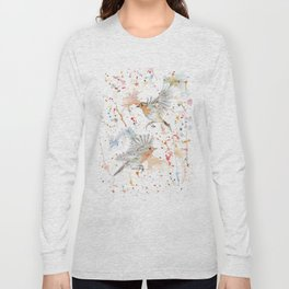 """Watercolor Painting of Picture """"Robins"""" Long Sleeve T-shirt"""