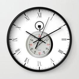 Silver Stop Watch Wall Clock
