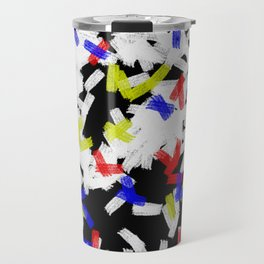 Primary Strokes - Abstract, primary colour & black and white raw paint brush strokes Travel Mug