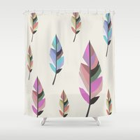 feathers Shower Curtains featuring Feathers by 83 Oranges™