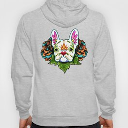 French Bulldog in White - Day of the Dead Sugar Skull Dog Hoody