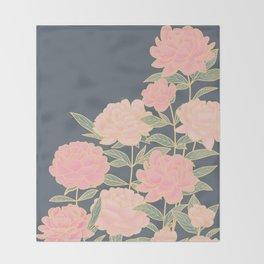 Pink peonies vintage pattern Throw Blanket