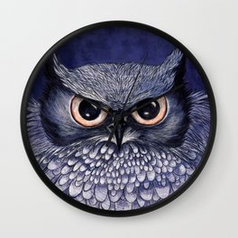 La Sagesse du Hibou (The Blue Owl) Wall Clock