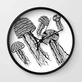 Floating Around BW Wall Clock