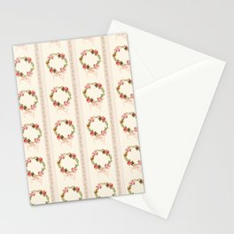 Pastel Blush Antique Napoleonic Toile With Stripes And Roses Bouquets  Stationery Cards