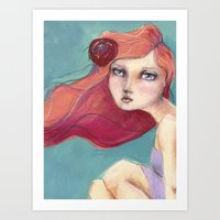 jane davenport Art Prints featuring Beautiful Faces by Jane Davenport by Jane Davenport