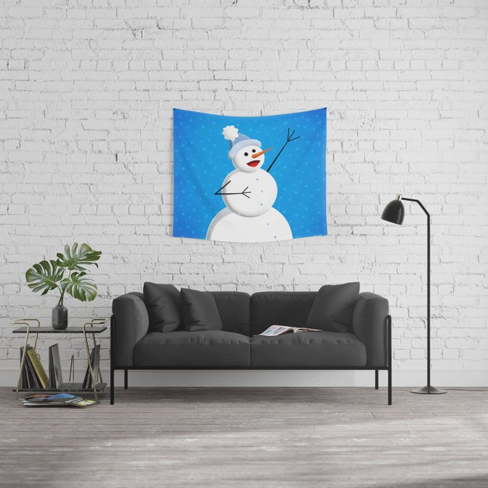 Blue Happy Singing Snowman Wall Tapestry