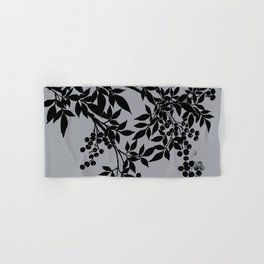 TREE BRANCHES BLACK AND GRAY LEAVES AND BERRIES Hand & Bath Towel