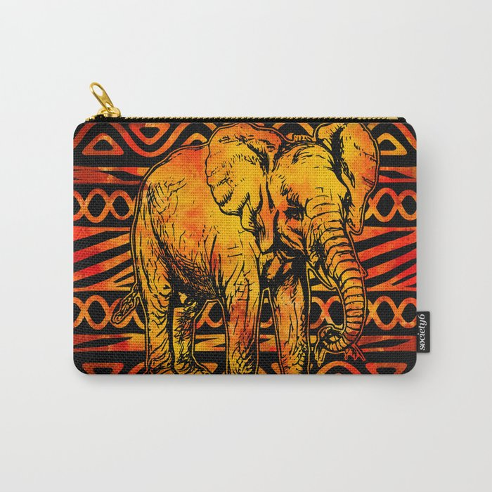 Textured Ethnic and Animal Print and Elephant Carry-All Pouch