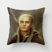 legolas Throw Pillows featuring Legolas by taryndraws2