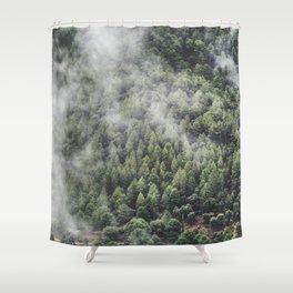 """Retro forest."" Shower Curtain"