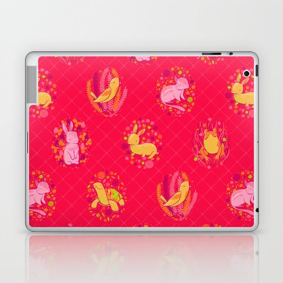 Picnic Pals animals in strawberry Laptop & iPad Skin