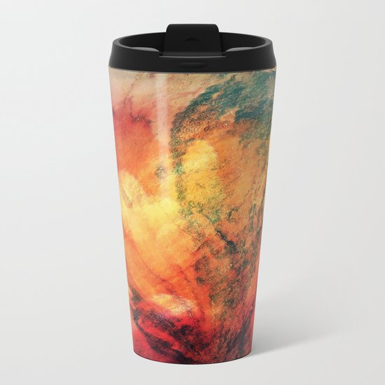 A leaf In The Wood Aflame Abstract Metal Travel Mug