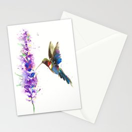 WATERCOLOR HUMMING BIRD Stationery Cards