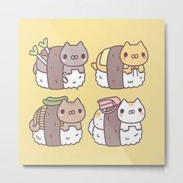 Sushi Cats Metal Print