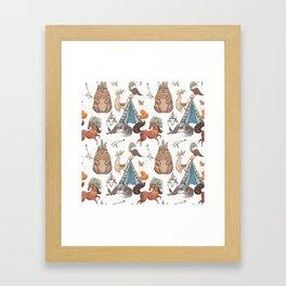 Watercolor Woodland Animal Patterns Framed Art Print
