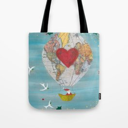 Christmas Santa Claus in a Hot Air Balloon for Peace Tote Bag