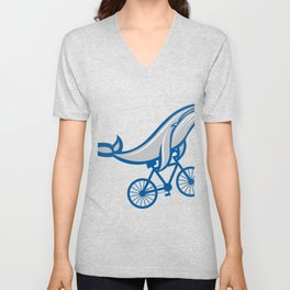 Bicycle With Blue Whale Retro Design Fitness Gift Unisex V-Neck
