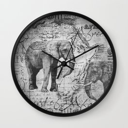 African Spirit Vintage Elephant black white Wall Clock