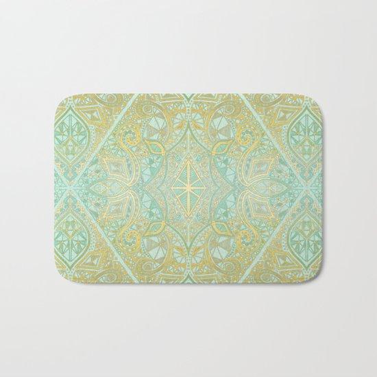 Mint & Gold Effect Diamond Doodle Pattern Bath Mat