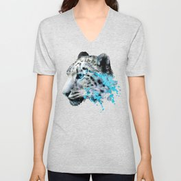 Watercolor snow panther leopard artsy watercolour cougar painting Unisex V-Neck