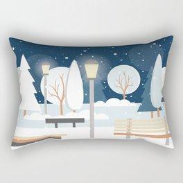 First Snow Fall in Central Park Rectangular Pillow