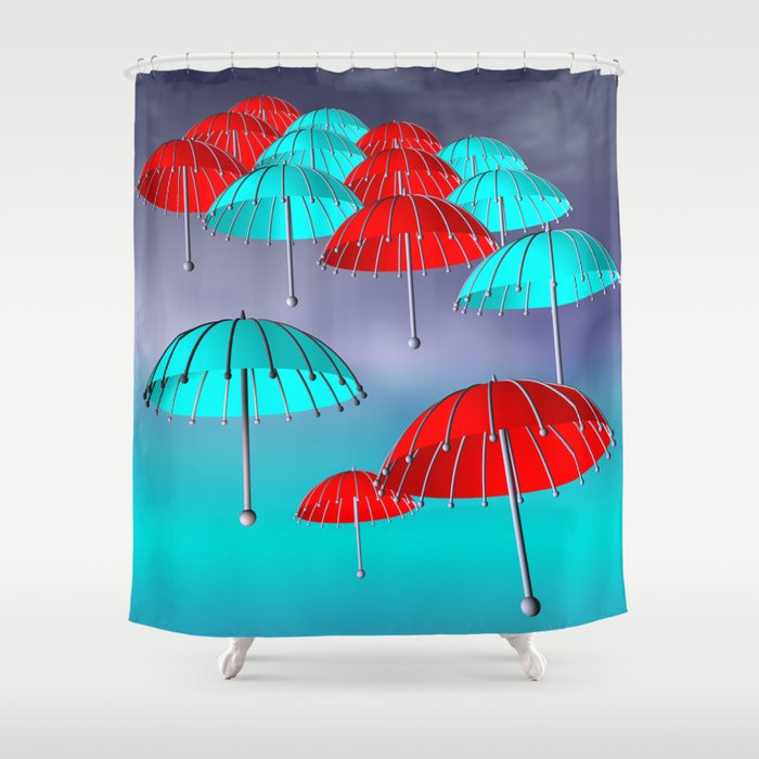 Little Umbrellas Red White And Turquoise 2 Shower Curtain By Issabild