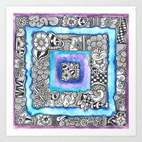Zentangle Inspired Artwork Blue and Purple Squares... Art Print