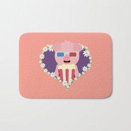 Cinema Pig with flower heart Bath Mat