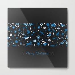 Merry Christmas Pattern Metal Print