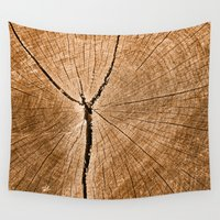 tree rings Wall Tapestries featuring Cracked Wood Rings Texture by Nicolas Raymond