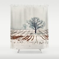 farm Shower Curtains featuring Winter Farm by elle moss