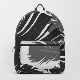 Tropical Leaf Silhouette in Gray Palette Backpack