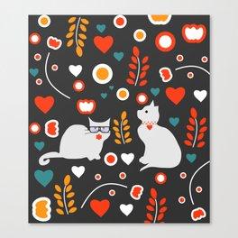 Valentine decor with cats Canvas Print