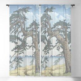 Hasui Kawase, Misty Morning At Yotsuya Mitsuke - Vintage Japanese Woodblock Print Art Sheer Curtain