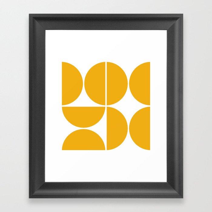 Mid Century Modern Yellow Square Gerahmter Kunstdruck
