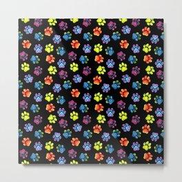 Black Rainbow Paw Print Pattern Metal Print